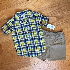 NWT Carter's yellow plaid w/ khaki shorts
